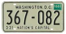 1966 (3-31-67) Passenger plate no. 367-082 validated for 1967 (3-31-68)