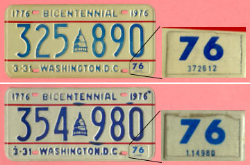 Two 1974 plates mentioned in text with close-up views of stickers.