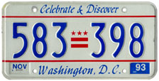 1991 Passenger plate no. 583-398 validated for 1992-1993 (exp. Nov. 1993)
