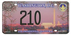 Link to page with information about 2005-2013 presidential inaugural plates.