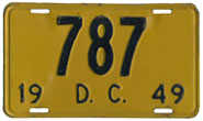 1949 Reserved Passenger plate no. 787