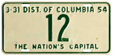 1953 Reserved Passenger plate no. 12
