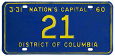1959 Reserved plate no. 21