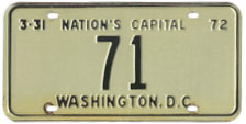 1971 reserved plate no. 71