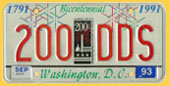 1991 optional City Bicentennial plate no. 200-DDS