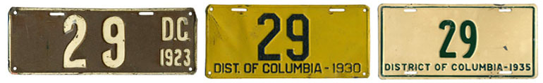 Number 23 passenger car plates from 1923, 1930, and 1935