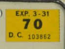 1969 (exp. 3-31-70) sticker, black on yellow