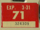 1970 (exp. 3-31-71) sticker, white on red