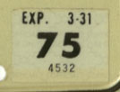 1974 (exp. 3-31-75) sticker, black on white