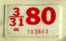 1979 (exp. 3-31-80) sticker, red on white