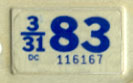1982 (exp. 3-31-83) sticker, blue on white