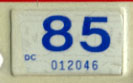 1984 (expires 1985) sticker, blue on white