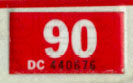 1989 (expires 1990) sticker, white on red