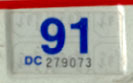 1990 (expires 1991) sticker, blue on white