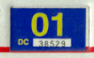 2000 (expires 2001) sticker, yellow on blue